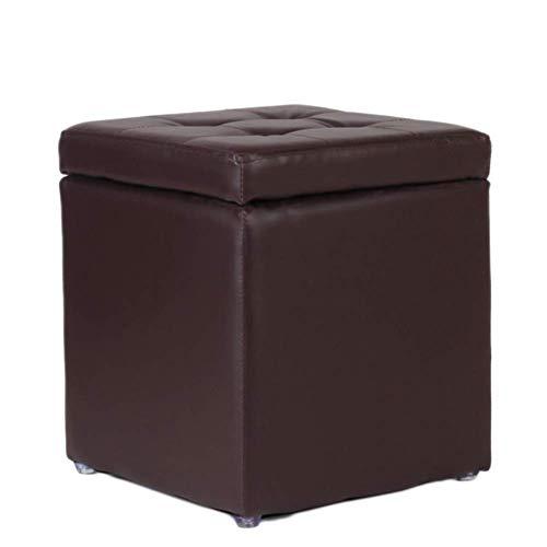 XBCDX Uare - Otomana de Almacenamiento, reposapiés copetudo de Colores Dulces con Tapa abatible, Bonito reposapiés Acolchado para Asiento, Piel sintética, marrón 30x30x35cm (12x12x14 Pulgadas)
