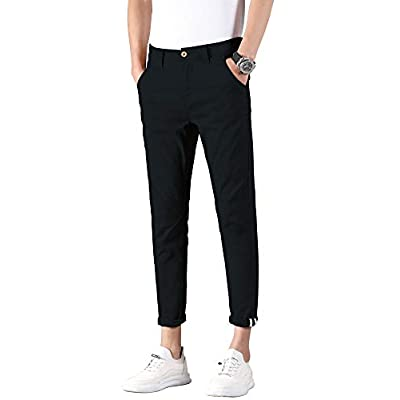 Men's Slim Fit Khaki Pants Stretch Cropped Chino Pants