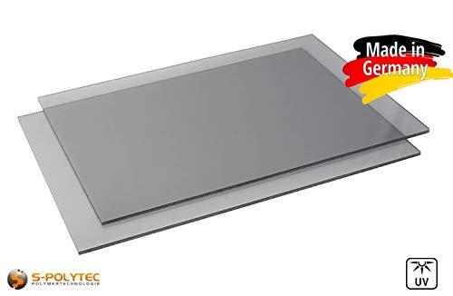 Polycarbonat Platte, MAKROLON LEXAN, PC Zuschnitt TRANSPARENT und GRAU, Stärke 3-8mm, VIELE Verschiedene Formate, beidseitiger UV-Schutz TOP QUALTÄT (100 x 75cm, 4mm GRAU)
