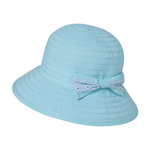 Jeff & Aimy Kinder Baby Mädchen Sonnenhut Faltbarer Sommerhut UPF 50 mit Kinnriemen Fisherhut Blau