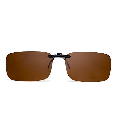JM Randlos Rechteck Clip auf Sonnenbrille Leicht Gewichts Polarisiert Brillen Damen Herren(Polarisiertes Braun)