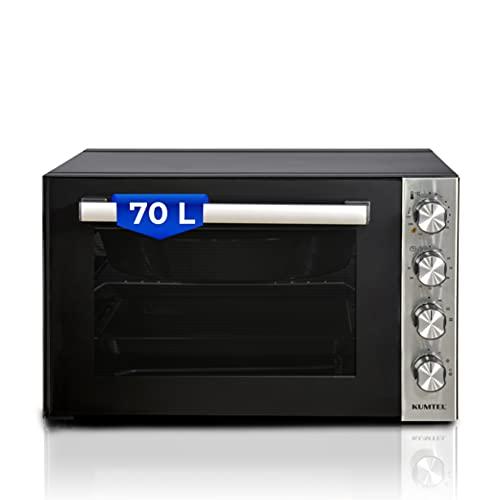 KUMTEL Minibackofen / Pizza-Ofen, 70 Liter XXL, 2000W Turbofunktion 6 Kochmodi, Innenbeleuchtung, Doppelverglasung, max 270°C, Timer Funktion, Granit-Innenbeschichtung, inkl. Backblech Set, Schwarz