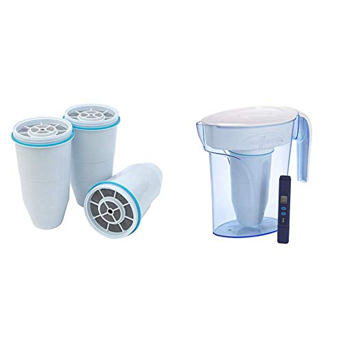 ZeroWater Replacement Filters 3-Pack BPA-Free Replacement Water Filters for ZeroWater Pitchers and Dispensers & ZP-006-4, 6 Cup Water Filter Pitcher with Water Quality Meter,White and Blue