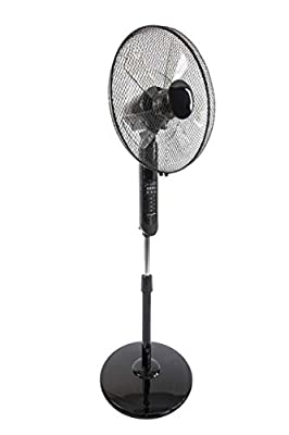 """Jack Stonehouse Black 3 Speed 16"""" Electric Cooling Pedestal Fan - Remote Controlled with Adjustable Stand"""