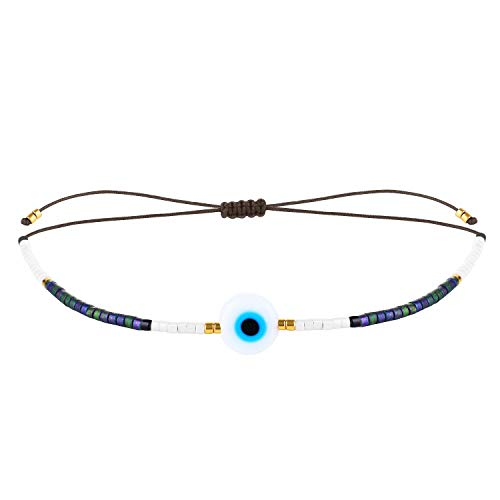 KELITCH Women's Beach Bracelets Boho Miyuki Pearls Friendship Bracelets New Summer Beach Bracelets (Black) E
