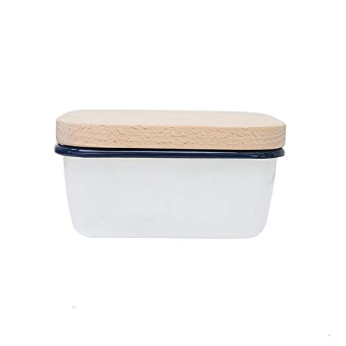 CROWNXZQ Large Butter Dish Container with Airtight Bamboo Lid, Porcelain Keeper - Holds Up to Sticks of Butter, White Enamel Boat Beechwood Home Acre Design