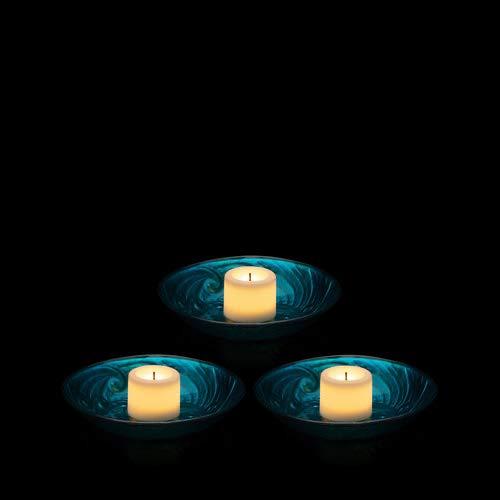 Schwimmende Teelichthalter mit LED Kerzen und Timer - Deko für Teich und Garten (Blau)