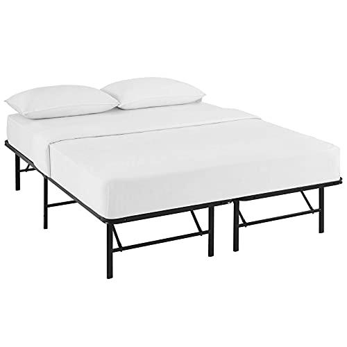 Modway FBA_ Horizon Replaces Box Spring-Folding Metal Mattress Bed Frame, Queen, Brown