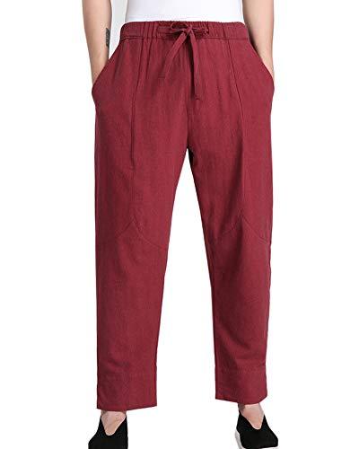 Pantalones de Artes Marciales Tradicionales Hombres Pantalones de Lino Tai Chi Kung-Fu Cintura Elástica
