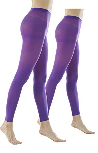 Women's 80Denier Semi Opaque Solid Color Footless Pantyhose Tights 2pair (M/L, Purple)
