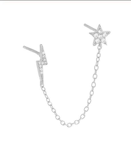 1 pieza gótica punk esposas pendientes de cadena auténtica de plata 925 europeos pendientes de cadena de eslabones para mujeres y niñas A30