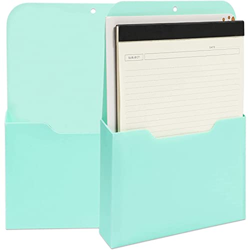 Magnetic Wall File for Organization (9.5 x 12.5 x 1.1 in, Teal, 2 Pack)