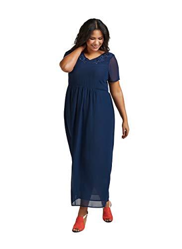 Zizzi Damen Abendkleider Partykleid, Blau (Dark Blue 1496), Small (Herstellergröße: S (42/44))