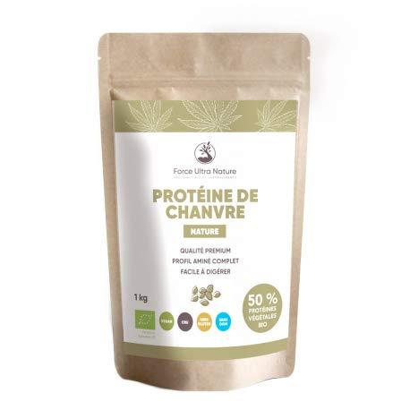 Protéine de chanvre Nature certifiée BIO - 100% Vegan, sans OGM, sans gluten - 1kg