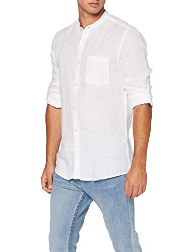 ONLY & SONS Herren ONSLUKE LS Linen Mandarine Shirt Hemd, White, L