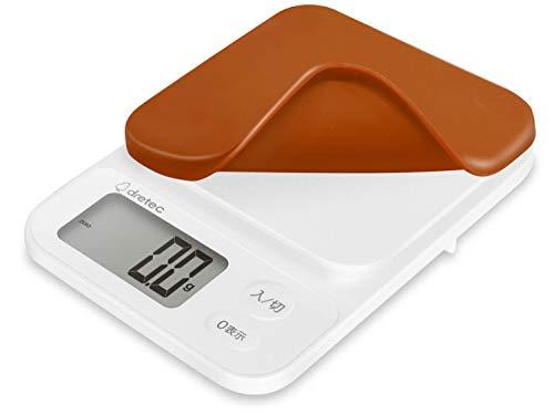 dretec(ドリテック) キッチンスケール はかり 料理 2kg 0.1g単位 シリコンカバー付 1年保証 ブラウン KS-716