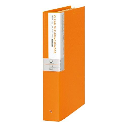 プラス クリアファイル A4縦 4穴 24P 背幅50mm デジャヴ 89-412 ネーブルオレンジ