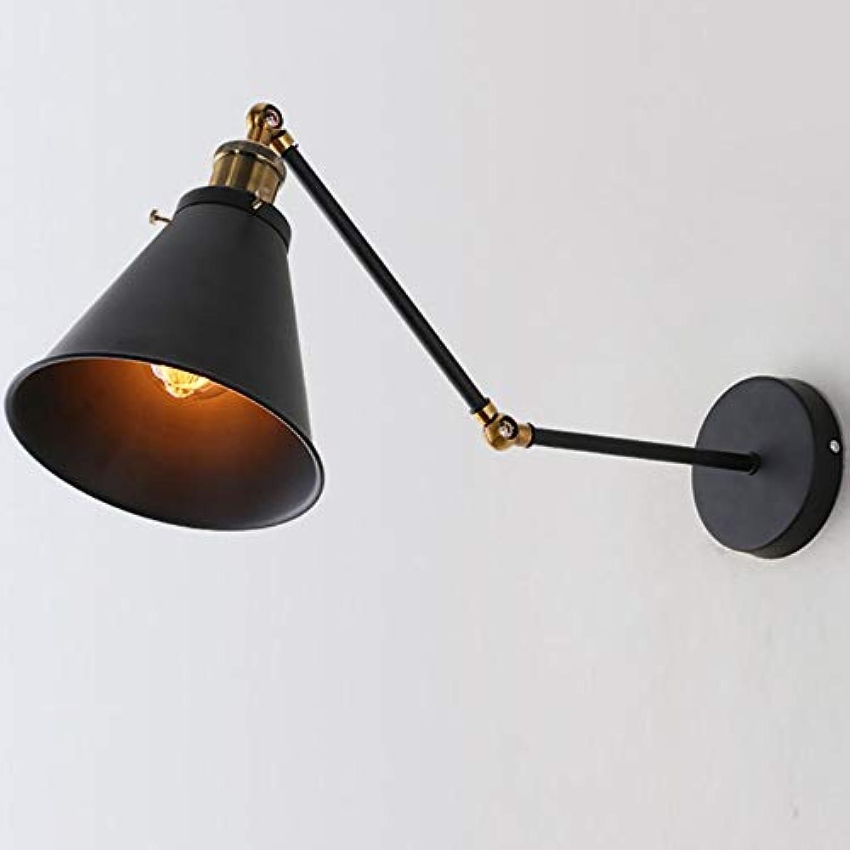 Trend 2019 Faltender Doppelabschnitt amerikanischer schwarzer Manipulatorwandlampe Schlafzimmerstudie Nachttischbarcaféwandleuchte Eisenhandwerk Hochtemperaturfarbe Wandlampe Dauerhaft