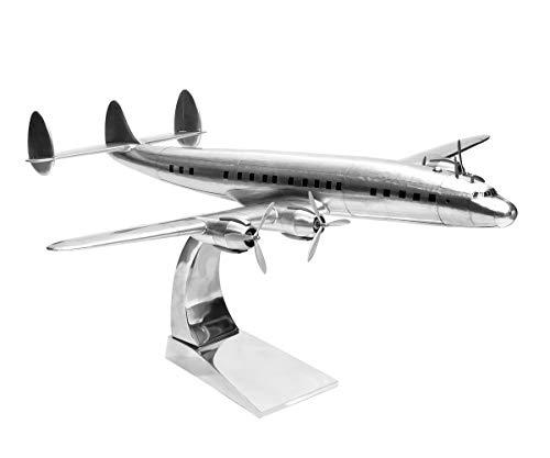 Brillibrum Design Lockheed Constellation aus Metall Holz Flugzeug Modellbau Modellflugzeug mit Standfuß Standmodell Gravur bis 35 Zeichen