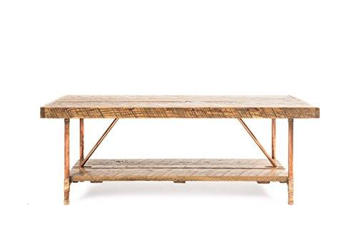 Niangua Furniture Rustic Coffee Table - Buckboard Red Oak - Metal Copper Pipe Legs - 48' x 23'