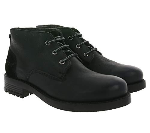 Petrolio Stiefeletten robuste Herren Echtleder Schnür-Boots Schuhe Halbschuhe Schwarz, Größe:43