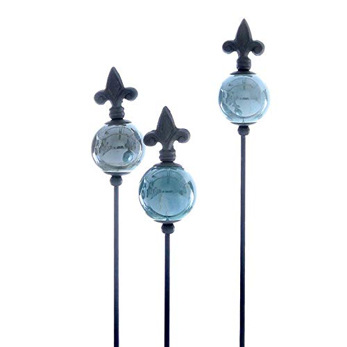 Glücksgriff Dekor | Rosenkugel Violence small 3er Set | Gartenstecker Keramik | H83 cm x Ø 5 cm, farbig abgestimmt.