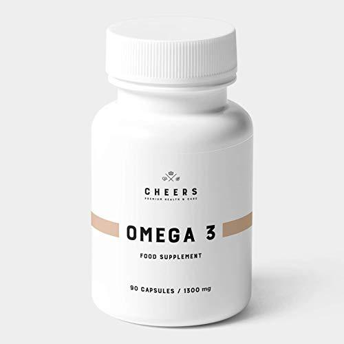 Omega 3 - Cápsulas de Aceite de Pescado Puro de la más Alta Calidad - 1100 mg de DHA/EPA por porción - Suplemento de ácidos grasos Omega 3 - Sin sabor ni olor a pescado - 90 Tabletas