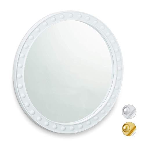Relaxdays Wandspiegel rund, moderner Deko-Spiegel zum Aufhängen, Flur, Wohnzimmer, Bad & WC, ∅ 50,5 cm, mit Rahmen, weiß