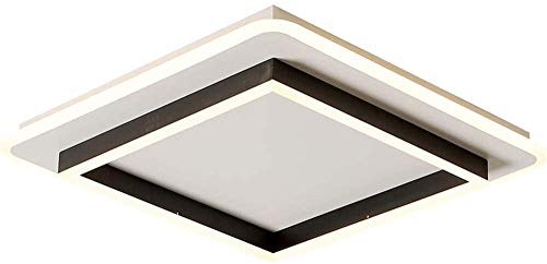 ZHANGL Moderna lámpara de techo de dormitorio ultra delgada cuadrada Lámpara de techo regulable cuadrada con control remoto Sala de estar Estudio Comedor LED Lámpara de techo en blanco y negro Hotel L