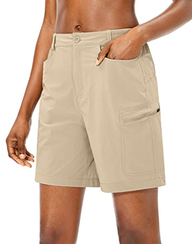 Viodia Women's Hiking Cargo Shorts Quick Dry Lightweight Summer Shorts for Women UPF50 Golf Travel Shorts with Pockets Khaki