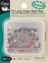 Dritz Max 70% OFF Long Color Ball Pins Size 24 3 Pkg Steel 31 Max 50% OFF 75 Stainless