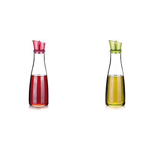 Tescoma 642775 Vitamino Acetiera, Vetro, Rosso, 500 ml, 1 Pezzo + Tescoma 642773 Vitamino Oliera, Vetro, Verde, 500 ml, 1 Pezzo