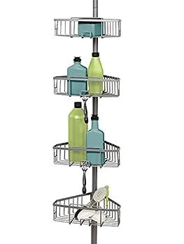 Zenna Home Satin Nickel Shower Tension Pole Caddy 4 Baskets