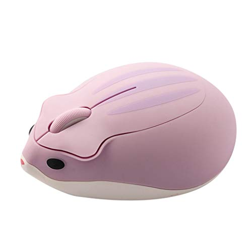 MALLdor 2.4G Wireless Optical Mouse Cute Hamster Cartoon Computer Mice Ergonomic Mini 3D PC Office Mouse for Kid Girl Gift