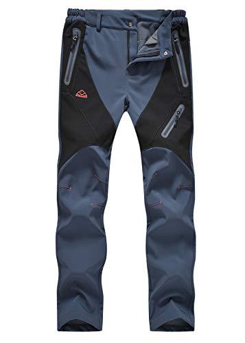 donhobo Softshellhose Damen Gefüttert Winterhose Wasserdicht Schnelltrocknen Outdoorhose Winddicht Warm Skihose Jogging Trekking Sporthose Grau L