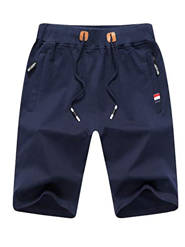 Tansozer Kurze Hose Herren Shorts Sommer Jogginghose Kurz Baumwolle Gym Sweat Shorts Herren Sport(Blau,XL)