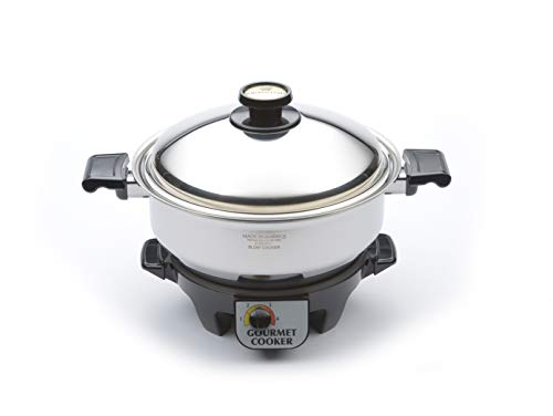 Kitchen Craft Slow Cooker, 6 Quart Stainless Steel Stockpot with Electric Base. Waterless Cookware, Induction Cookware, Handcrafted in the USA, Stainless Steel Cookware (6 Quart)