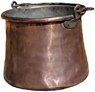 Antica pentola, vaso contenitore, porta vaso in rame antico fatto a mano