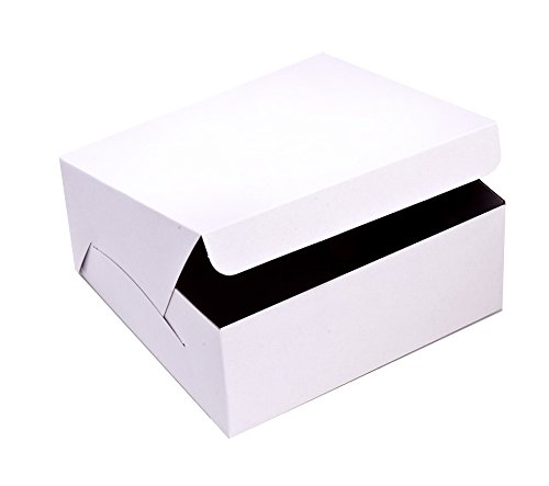 SafePro 10104, 10x10x4-Inch Cardboard Cake Boxes, Take Out Disposable Paper Cake Pie Containers, Wholesale White Bakery Box (100)