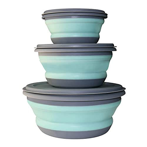 GLE2016 3 PCs Food Grade Silicone Collapsible Bowl Lunch Box - Expandable Food Storage Containers Set -Silicone Salad Bowl with Lid Portable (Blue)