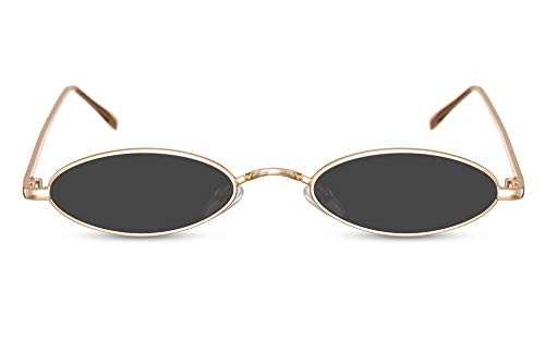 Cheapass Sonnenbrille Gold Klein Oval UV-400 Festival-Brille Metall Damen Frauen