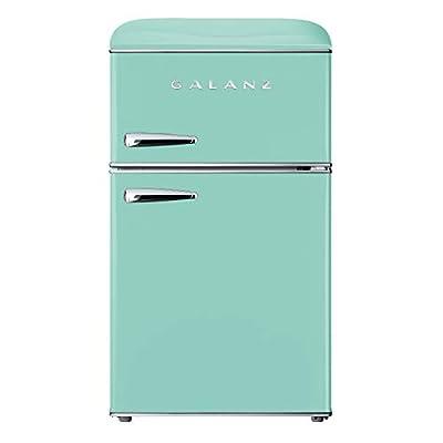 Galanz GLR31TGNER Retro Compact Refrigerator, Dual Door Fridge, Adjustable Mechanical Thermostat with True Freezer, 3.1 Cu.Ft, Green