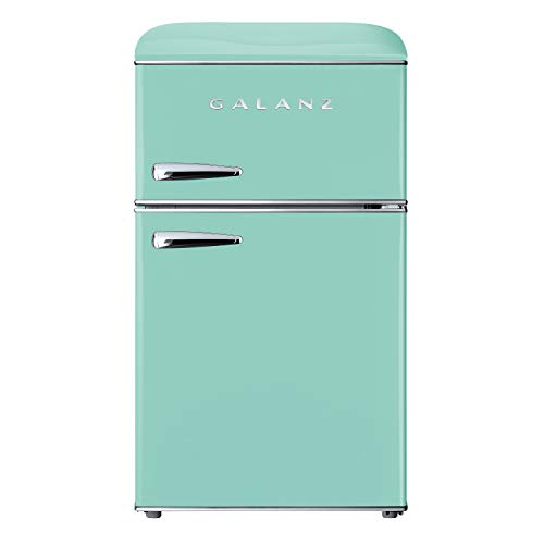 Galanz GLR31TGNER Retro Compact Refrigerator, Dual Door Fridge, Adjustable Mechanical Thermostat with True Freezer, 3.1 Cu.Ft, Green