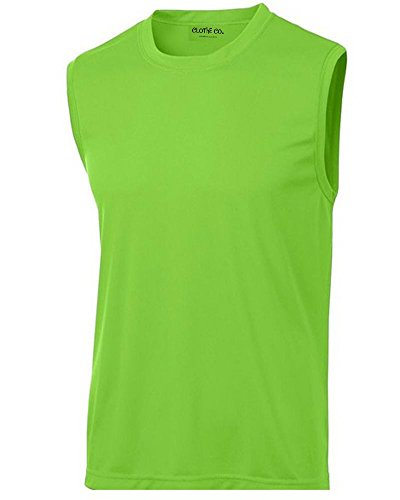 Clothe Co. Mens Sleeveless Moisture Wicking Muscle Shirt, Lime Shock, L
