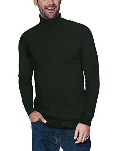 XRAY Turtleneck Sweater for Men – Slim Fit Pullover with Roll Collar Olive