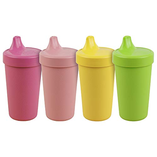 Re-Play Made in The USA 4pk No Spill Sippy Cups for Baby, Toddler, and Child Feeding - Bright Pink, Blush, Lime Green, Yellow (Tulip+)