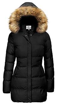 WenVen Women s Bulky Winter Thicken Jacket with Fur Trim Hood  Black,M