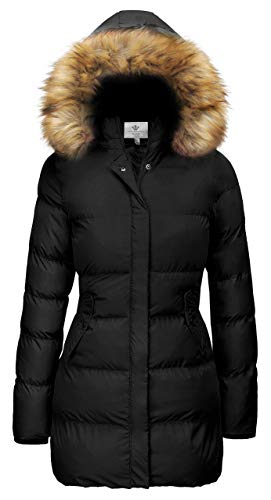 WenVen Women's Winter Thicken Warm Coat with Fur Removable Hood (Black, XL)