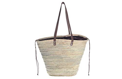 Afrikan Bags - Bolso Capazo de Palma| Bolso de Palma de Base Oval con Asa Bandolera y Cierre Ajustable - 52 x 20 x 33 cm