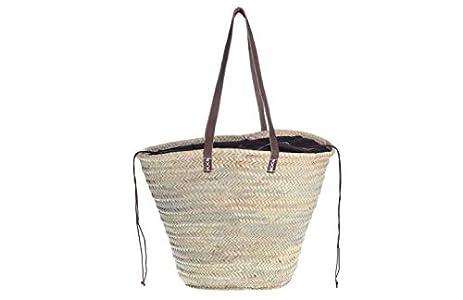 Afrikan Bags - Bolso Capazo de Palma  Bolso de Palma de Base Oval con Asa Bandolera y Cierre Ajustable - 52 x 20 x 33 cm